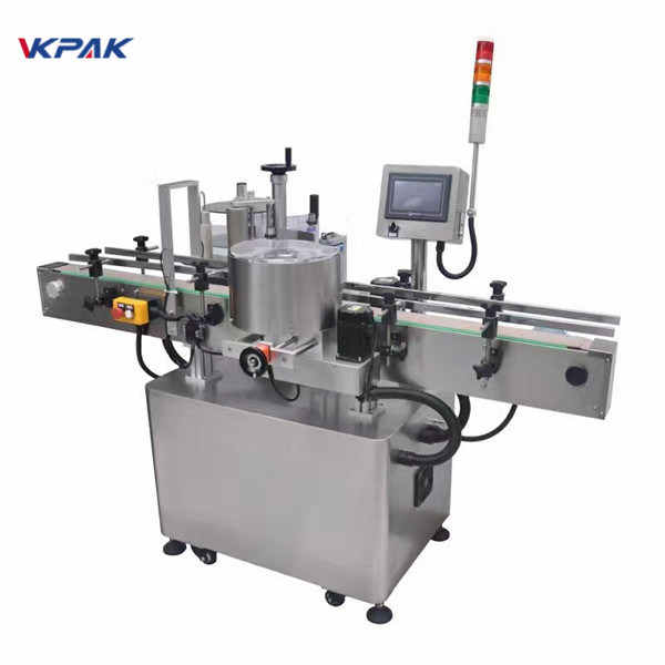 Round Bottle Label Applicator Electrical Cabinet Sticker Labeling Machine