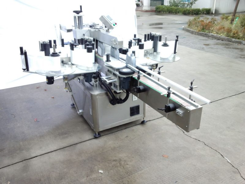China Automatic Two Side Sticker Labeling Machine With Front And Back Side For Oval , Round , Aquare Bottle Fixed supplier
