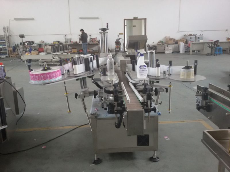 China Plastic and glass bottles PLC control automatic double side sticker labelling machine servo motor supplier