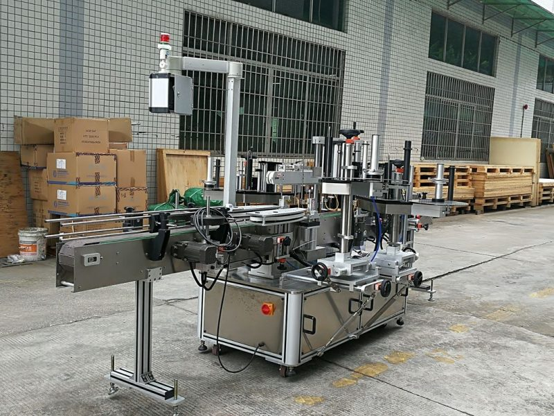 China CE Glass Bottle Labeling Machine , Sticker Front And Back Labelling Machines For Round Glass Bottles supplier